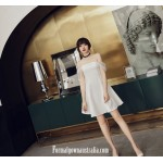Elegant Short White Zipper-back Off The Shoulder Semi Formal Dress New