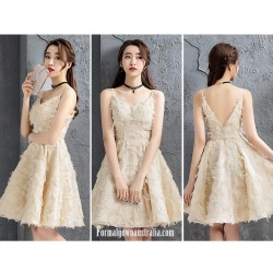 A Line Knee Length Champagne Color Semi Formal Dress Spaghetti Straps V Neck Cocktail Dress