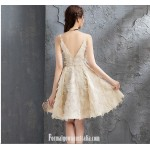 A-line Knee-length Champagne Color Semi Formal Dress Spaghetti Straps V-neck Cocktail Dress New