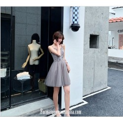 Fashion A-line Knee-length Spaghetti Straps Grey Tulle Semi Formal Dress With Sequins