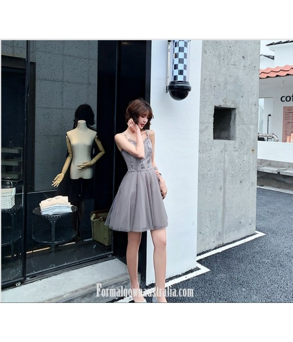 Fashion A-line Knee-length Spaghetti Straps Grey Tulle Semi Formal Dress With Sequins New