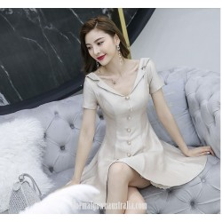 Fashion Knee Length V Neck Short Sleeves Semi Formal Dress With Button
