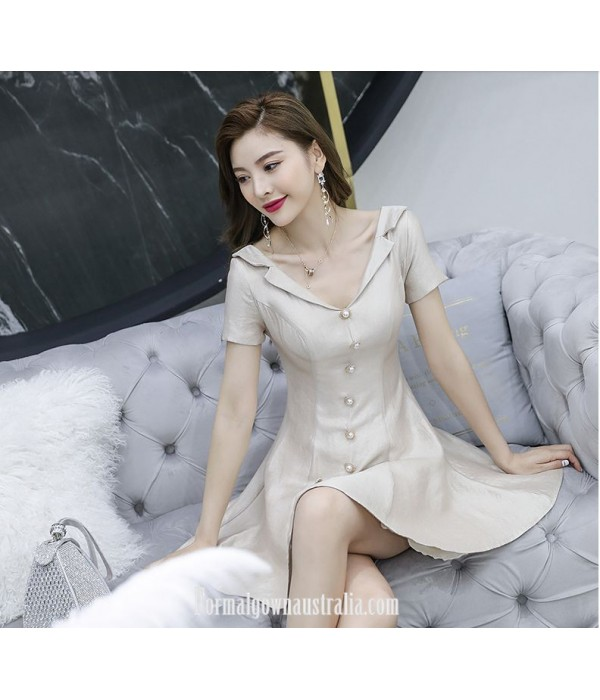 Fashion Knee-length V-neck Short Sleeves Semi Formal Dress With Button New