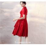 Fashion Knee-length V-neck Short Sleeves Red Satin Evening Dress New