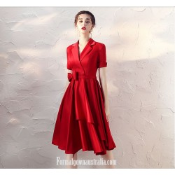 Fashion Knee-length V-neck Short Sleeves Red Satin Evening Dress