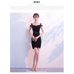 Short Buttocks Black Sheath Column Semi Formal Dress With Side Slit