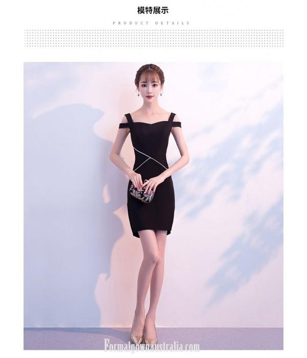Short Buttocks Black Sheath/column Semi Formal Dress With Side Slit New