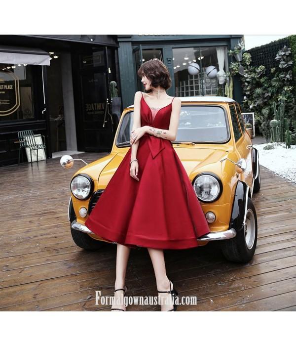Medium-length Red Satin Evening Dress Deep-neck Spaghetti Straps Lace-up Party Dress New