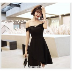 Short Off The Shoulder Zipper Back Black Chiffon Semi Formal Dress