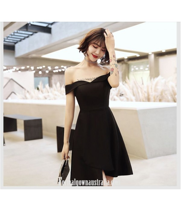 Short Off The Shoulder Zipper Back Black Chiffon Semi Formal Dress New