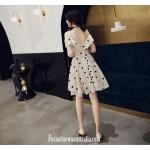 A-line Knee-length Champagne Color Spaghetti Straps Semi Formal Dress New