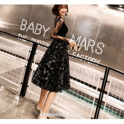 A Line Medium Length Black Lace Tulle Evening Dress Lace Collar Long Sleeves
