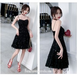 A Line Spaghetti Straps Knee Length Little Black Dress Semi Formal Dress With Sequins Beading