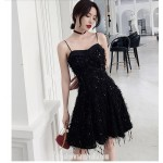 A-line Little Black Dress Semi Formal Dress Spaghetti Straps Knee-length With SequinsBeading New