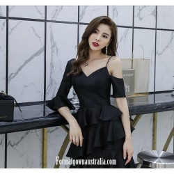 Fashion Sleeves V-neck Short Black Satin Semi Formal Dress