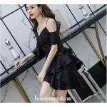 Fashion Sleeves V-neck Short Black Satin Semi Formal Dress New