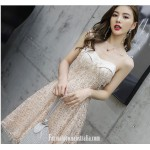 Fashion A-line Knee-length Spaghetti Straps Evening Dress With Sequins/Beading New