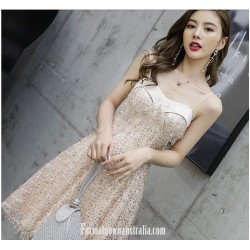 Fashion A Line Knee Length Spaghetti Straps Evening Dress With Sequins Beading