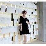 Fashion Sleeves Short Black Pengpeng Skirt V-neck Semi Formal Dress New