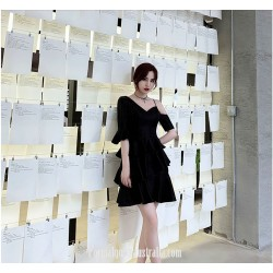 Fashion Sleeves Short Black Pengpeng Skirt V Neck Semi Formal Dress