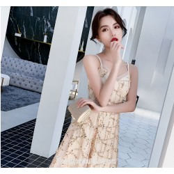 Fashion Knee Length Spaghetti Straps Champagne Color Evening Dress With Sequins