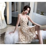 Fashion Knee-length Spaghetti Straps Champagne Color Evening Dress With Sequins New
