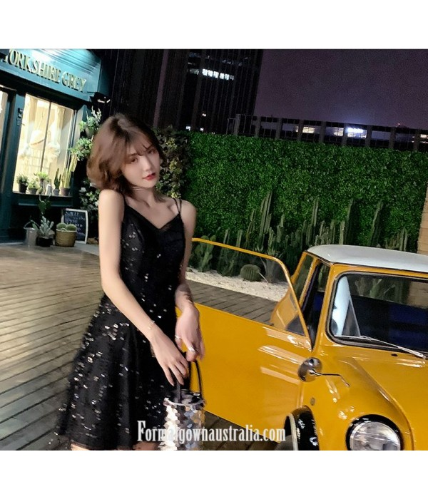 A-line Short Little Black Dress V-neck Criss Cross Straps Semi Forml Dress With Sequins New