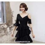 2019 New Fashion Sleeves V-neck Black Short Australia Semi Formal Dress New