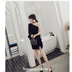 SheathColumn Short Mini One Shoulder Long Sleeves Semi Formal Dress