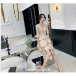 Fashion Sleeves V-neck Champagne Color Satin Semi Formal Dress New