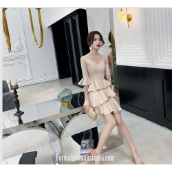 Fashion Sleeves V-neck Champagne Color Satin Semi Formal Dress