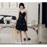 A-line Knee-length Black Spaghetti Straps Semi Formal Dress With Sequins New