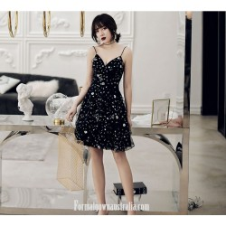 A Line Knee Length Black Spaghetti Straps Semi Formal Dress With Sequins