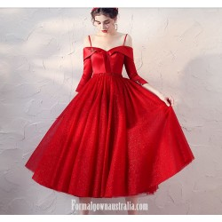 Medimn-Length Off The Shoulder Half Sleeves Red Satin Tulle Evening Dress With Sequins
