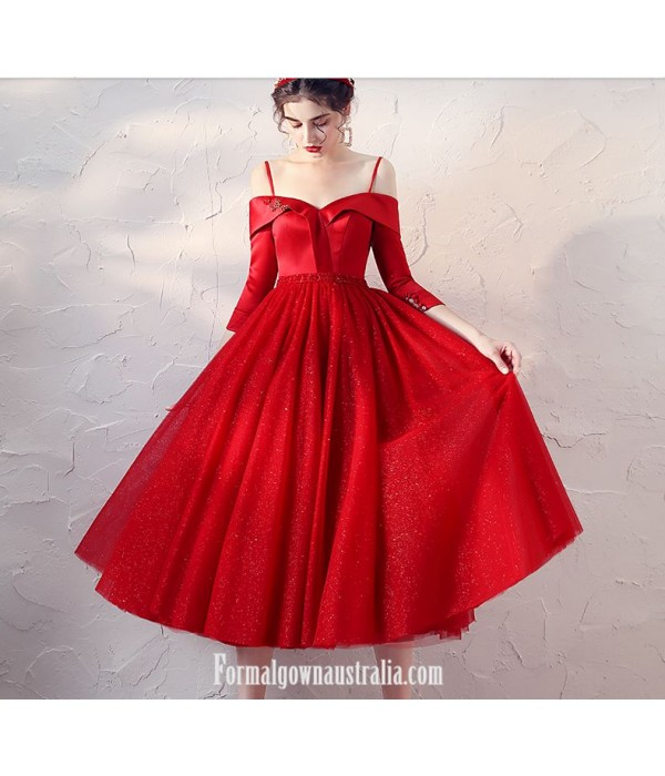 Medimn-Length Off The Shoulder Half Sleeves Red Satin Tulle Evening Dress With Sequins New