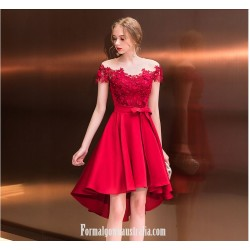 2019 New Fashion Front Short Rear Length Off The Shoulder With Appliques Sequins Red Australia Evening Dress