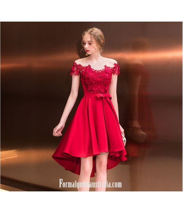 2019 New Fashion Front Short Rear Length Off The Shoulder With Appliques/Sequins Red Australia Evening Dress New