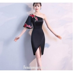 Sheath Column Sexy One Shoulder Satin With Embroidery Australia Evening Dress
