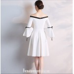 Elegant Knee-length White Satin Off The Shoulder Long Sleeves Semi Formal Dress New