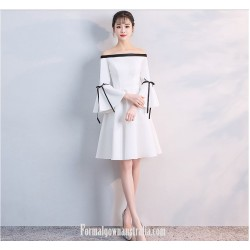 Elegant Knee-length White Satin Off The Shoulder Long Sleeves Semi Formal Dress