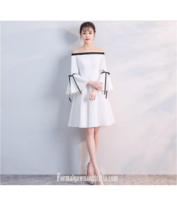 Elegant Knee-length White Satin Off The Shoulder Long Sleeves Semi Formal Dress New