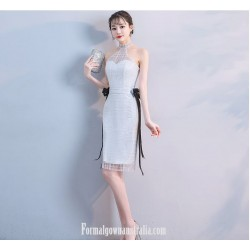 Sheath Column Halter Neck White Sheath Column Knee Length Evening Dress With Ribbons Lace