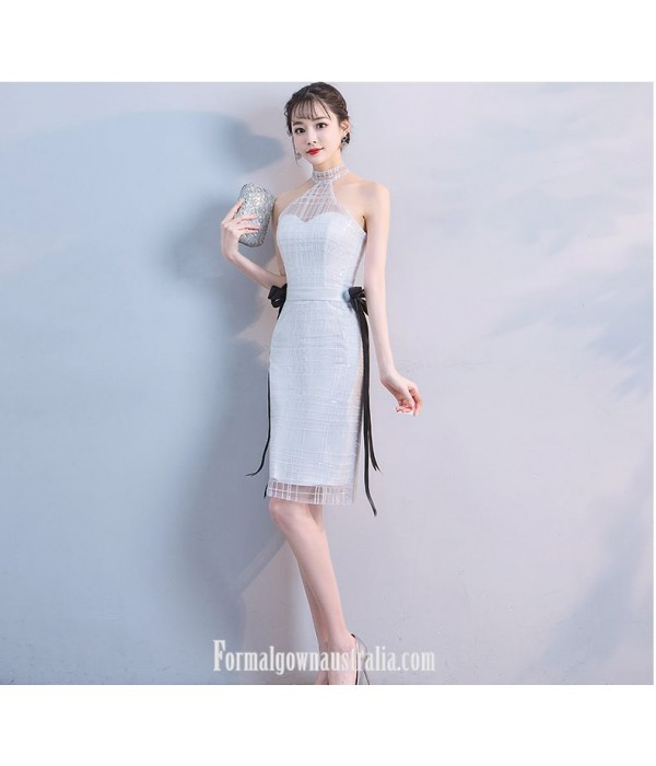 Sheath/Column Halter-neck White Sheath/Column Knee-length Evening Dress With Ribbons/Lace New