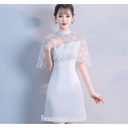 Elegant Knee-length Fashion High-neck Formal Evening Dress White Satin/Lace With Sequins