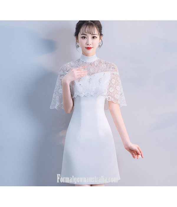 Elegant Knee-length Fashion High-neck Formal Evening Dress White Satin/Lace With Sequins New