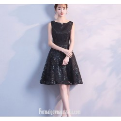 A Line Knee Length Small V Collar Semi Formal Dress With Sequins