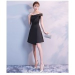A-line Knee-length One Shoulder Sling Black Satin Semi Formal Dress New