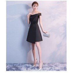 A Line Knee Length One Shoulder Sling Black Satin Semi Formal Dress