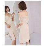Sheath/Column Off The Shoulder Knee-length Satin Evening Dress With Front Slit New