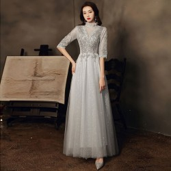 Floor Length Silvery Tulle Formal Dress Half Sleeve Lace Up Back Exquisite Embroidery Evening Dress